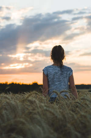 The girl in the wheat field looks at a sunset Stock fotó