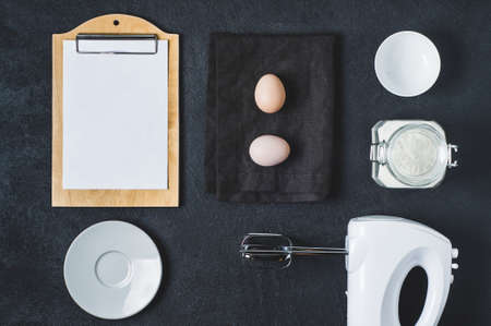 Mixer and ingredients for baking. Cooking concept, flat lay and top view