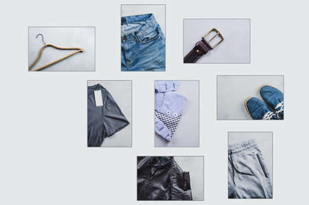 Fashionable mens clothing. Collage on grey concrete background