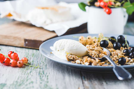 Muesli with ice cream and currants on a plate
