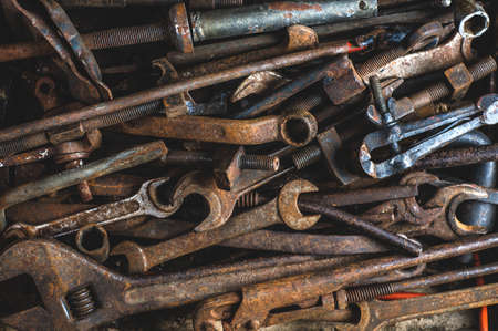Background of old rusty tools. The concept of workshop or repair Banco de Imagens