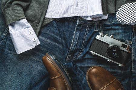 Männerkleidung. Flache Lage und Draufsicht