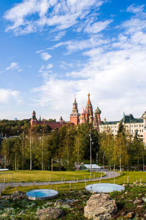 Landscape Park Zaryadye. Moscow Russia. The views of St. Basils Cathedral
