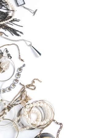 Women's jewelry on white background