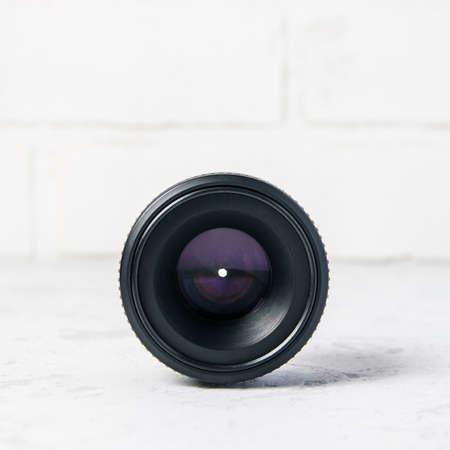 Photo lens on white background