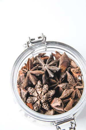 Anise in a glass jar Stock Photo