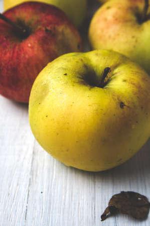 Fresh natural apples on white background