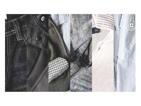 Collage of modern men's clothing 스톡 콘텐츠 - 121679633