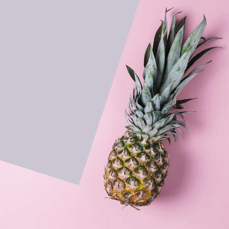 Pineapple on a pink background. Top view and space for text