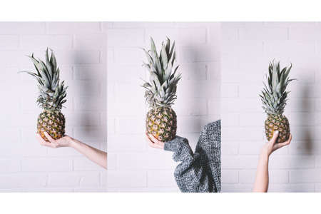 Pineapple on white background. Top view and space for text