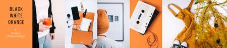 Black White Orange Custom Collage