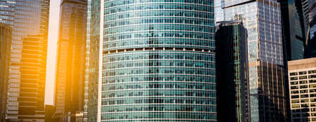 Skyscrapers or modern urban architecture, fragment of the buildings
