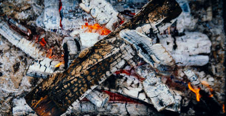 Coals from the fire close-up