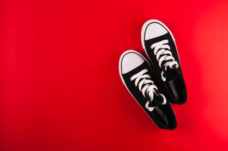 Sport sneakers on bright red background Фото со стока
