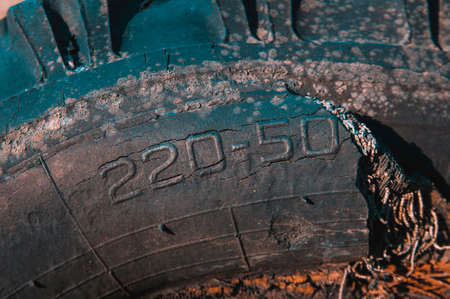 Old worn-out truck tire