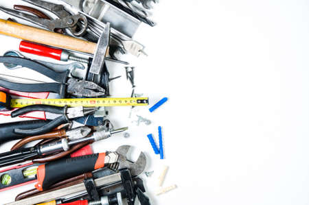 Home tools on white background. Space for text or design Stockfoto