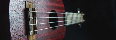 Mahogany ukulele close-up on dark background Фото со стока