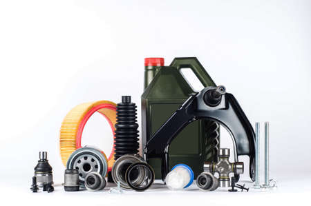 Set of car parts for maintenance or tuning on white background Stockfoto