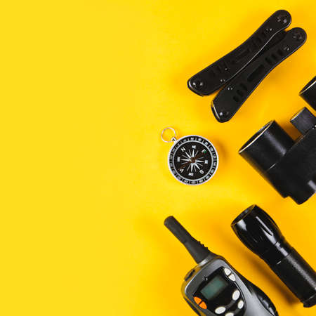A set of equipment for a hike or travel on a yellow background