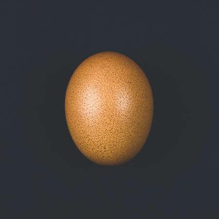 Brown egg closeup on black background Stockfoto