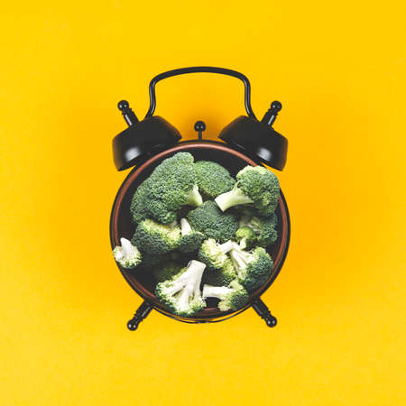 Collage of alarm clock and a plate of broccoli on a yellow background