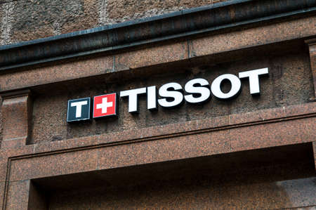 Russia, Moscow, September 28, 2019: TISSOT logo on the shop window