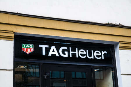 Russia, Moscow, September 28, 2019: TAGHeuer logo on the shop window