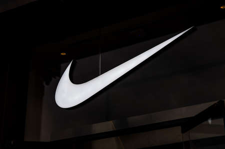 Russia, Moscow, September 28, 2019: Nike logo on the shop window
