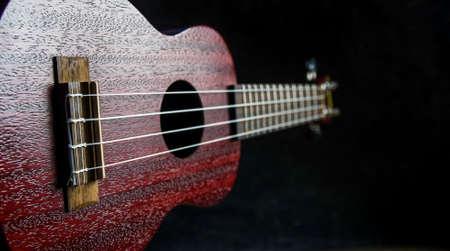 Mahogany ukulele close-up on dark background Stockfoto