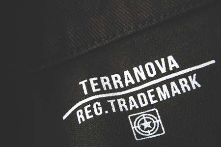 Russia, Moscow, October 02, 2019: Terranova text and logo on denim Editorial