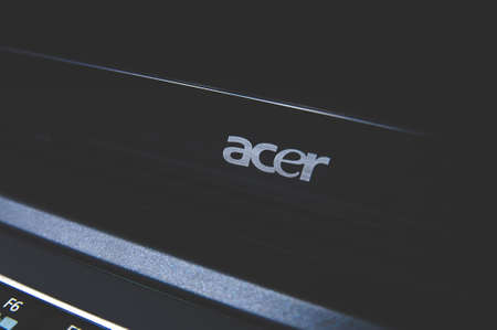 Russia, Moscow, October 02, 2019: Black laptop with ACER logo
