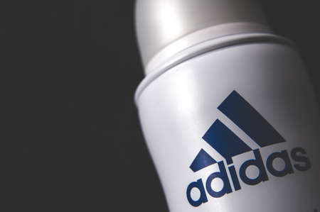 Russia, Moscow, October 02, 2019: Adidas deodorant on a dark background Editorial