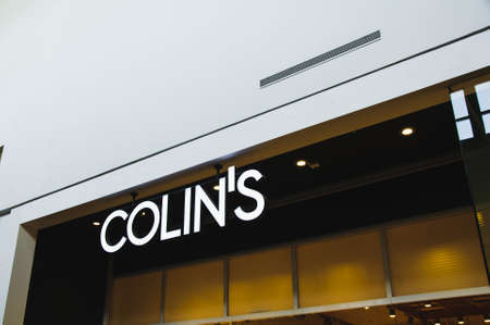 Russia, Moscow, October 03, 2019: COLINS logo on the shop window