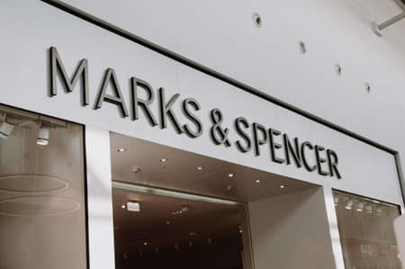 Russia, Moscow, October 03, 2019: MARKS & SPENCER logo on the shop window Editorial