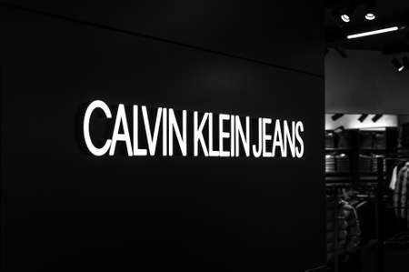 Russia, Moscow, October 10, 2019: CALVIN KLIEN JEANS logo on the shop window