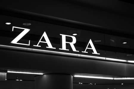 Russia, Moscow, October 10, 2019: ZARA logo on the shop window Editorial