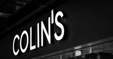 Russia, Moscow, October 10, 2019: COLINS logo on the shop window Editorial