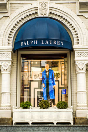 Russia, Moscow, October 10, 2019: RALPH LAUREN logo on the shop window Editorial