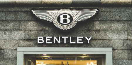 Russia, Moscow, October 10, 2019: BENTLEY logo on the shop window Editorial