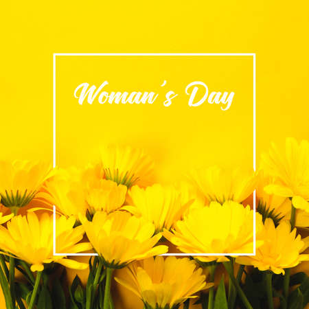 Yellow marigold and text Womans Day on an yellow background Reklamní fotografie