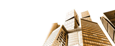 Golden toned skyscrapers or modern urban architecture isolated on white background Banco de Imagens