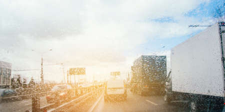 Traffic and transportation in modern city Banco de Imagens
