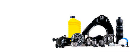 Set of car parts for maintenance or tuning on white background Banco de Imagens