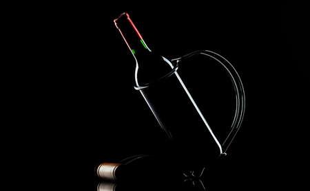 Bottle of  wine  in  black Stock Photo