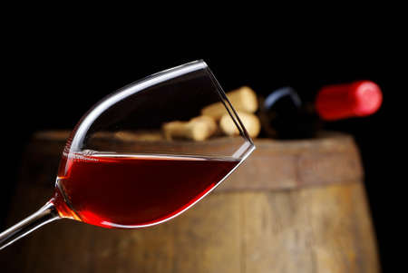 glass of wine with barrel Stock Photo