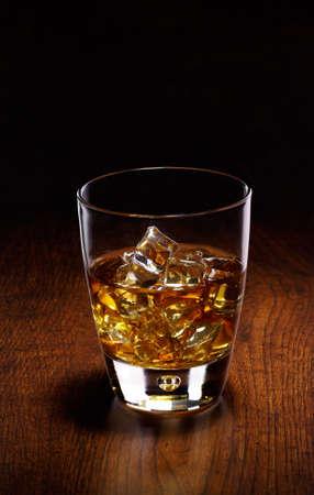 glass whiskey on black