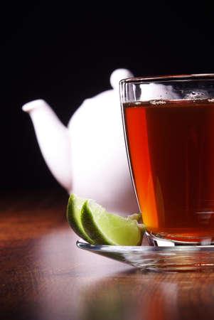 glass of tea with lemon