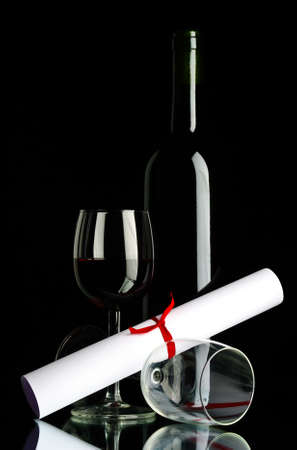 bottle and red wine glass Stock Photo