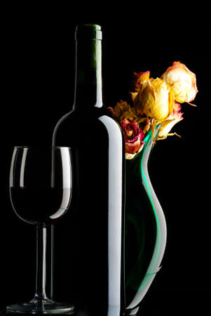 bottle with   red  wine  on  black