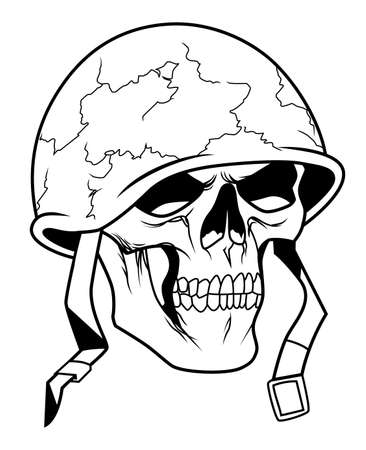 military helmet: Skull in military helmet